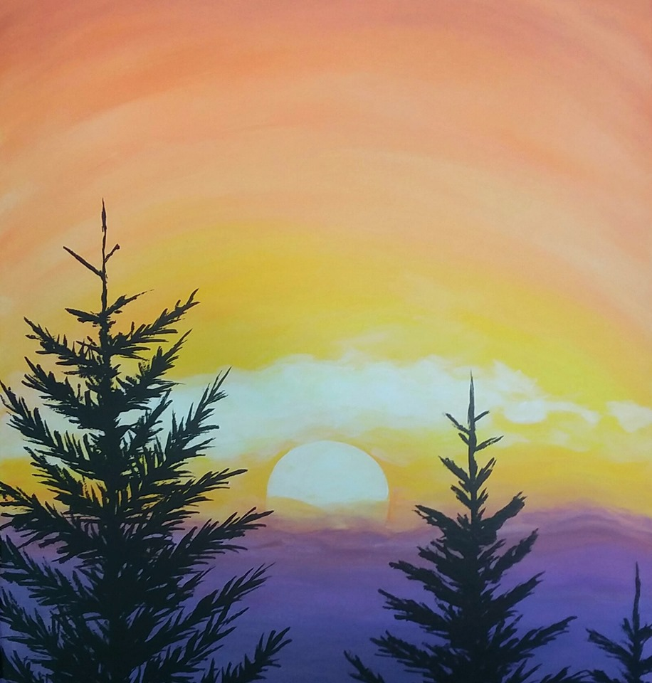 Brews & Brushes    July 12, 2019 Event Starts at 6 PM   Look at that beautiful sunrise through the trees and smell that fresh mountain air. What a much needed getaway. Holy crap that's a painting! Well, we might not be getting away to the mountains, but we can do the next best thing and paint this gorgeous scene at Paraiso Brewery! We will provide everything you need to paint this window to a beautiful mountain sunrise and Paraiso Brewery is giving you one of their delicious craft beers to enjoy while you paint. See you on the mountain!  For Tickets:  https://brewsjuly19.brownpapertickets.com/    Kelly Mance    7024913121     segmentedart@hotmail.com