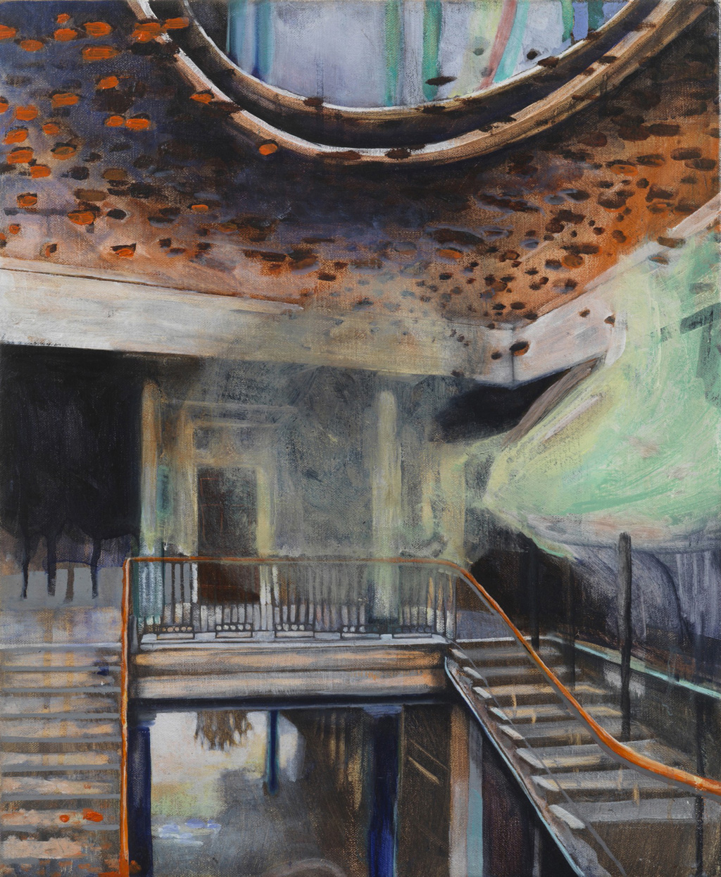 Upstairs downstairs 40x50 oil on linen 2009.jpg