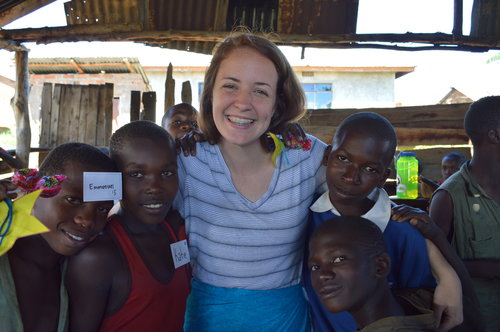 Katie Rhodes and friends in Tanzania