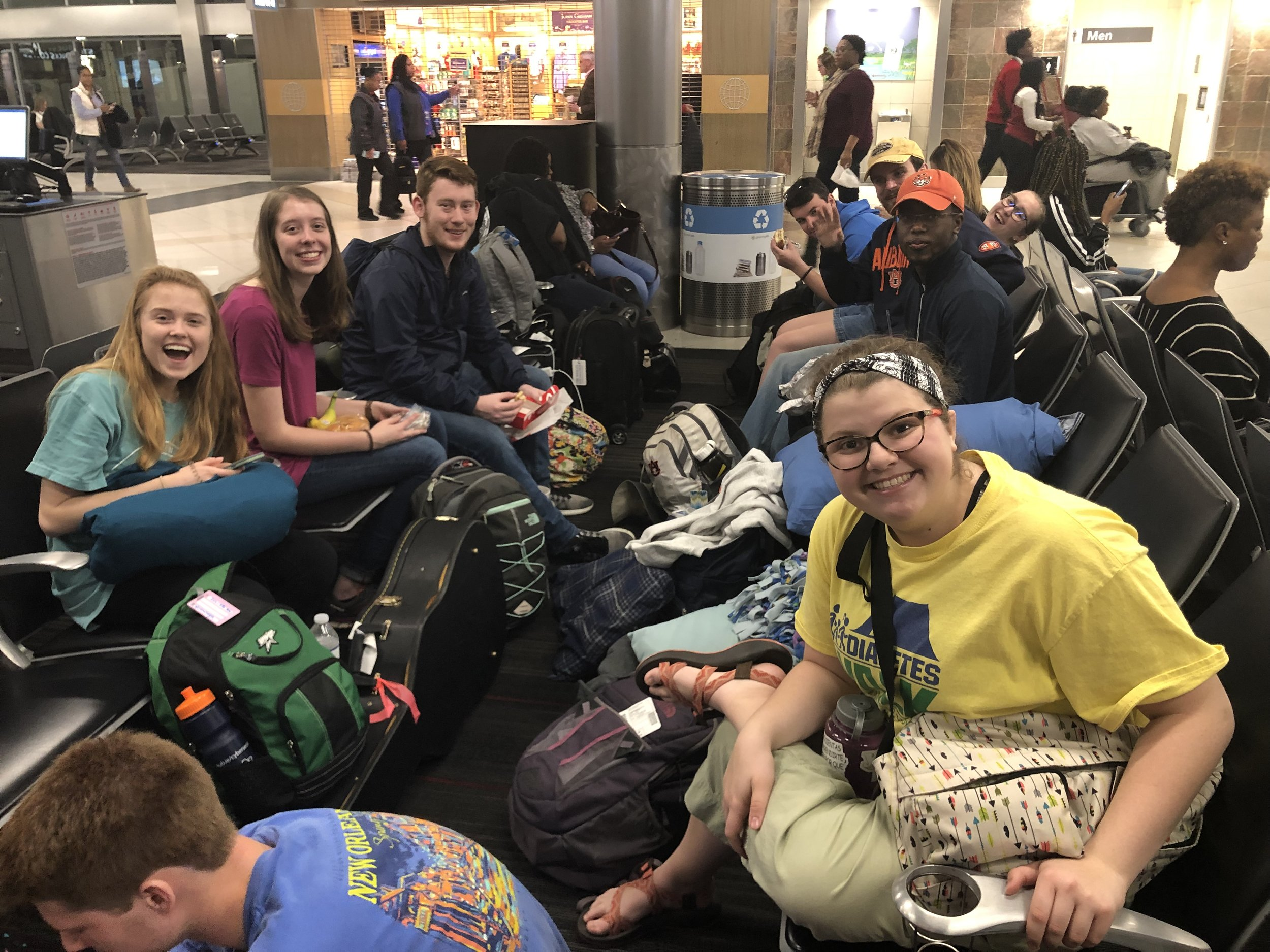 Just hangin' at the ATL airport! Pictured from right to left: Bekah Wommack, Sarah Jones, Ben Gourley, Josh Ellis, Becca Mercer, JT Mercer, AJ Stanley, and Taylor Vaughan