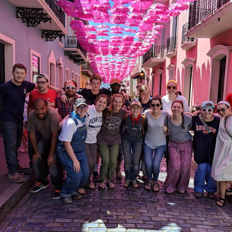 The entire team of 15 is at Umbrella Street, a street leading to the govenor's mansion that has many pink umbrellas hanging above