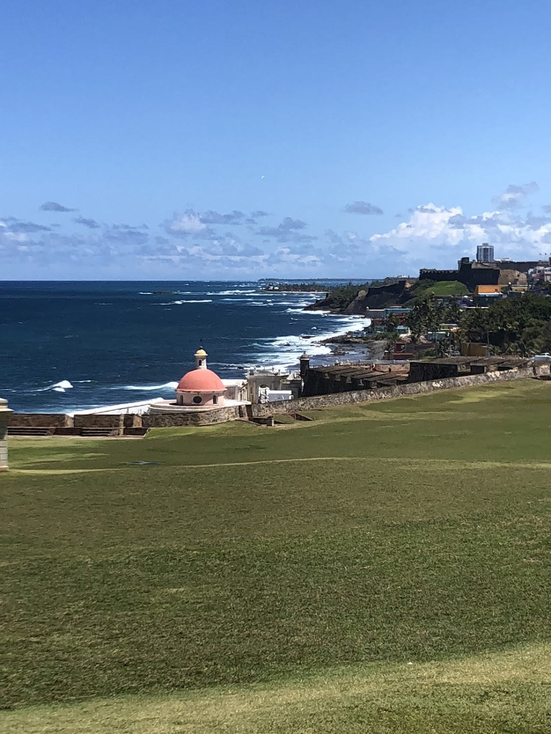 This is the view of the coast off of Old San Juan right by one of the old forts