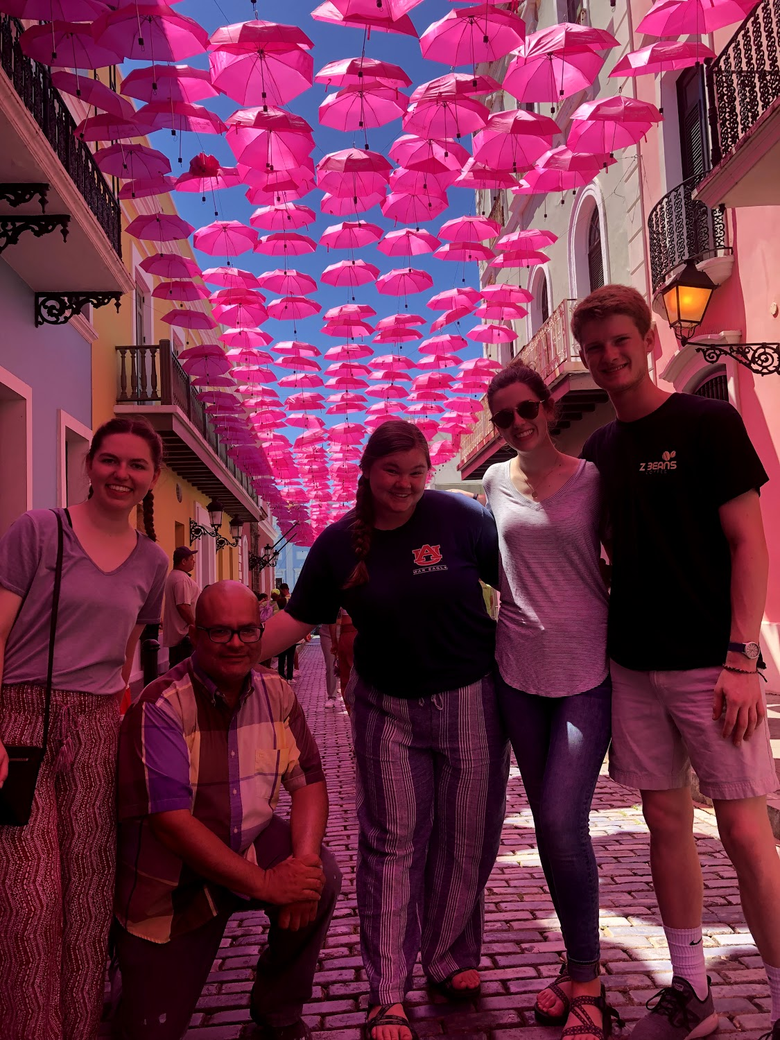 Team 1/ Alpha all take a moment to hang out at Umbrella Street after a week's work before heading back to the States. From left to right: Lindsey Baird, Miguel (our translator), Becca Lamb, Tatum Connell, Richard White