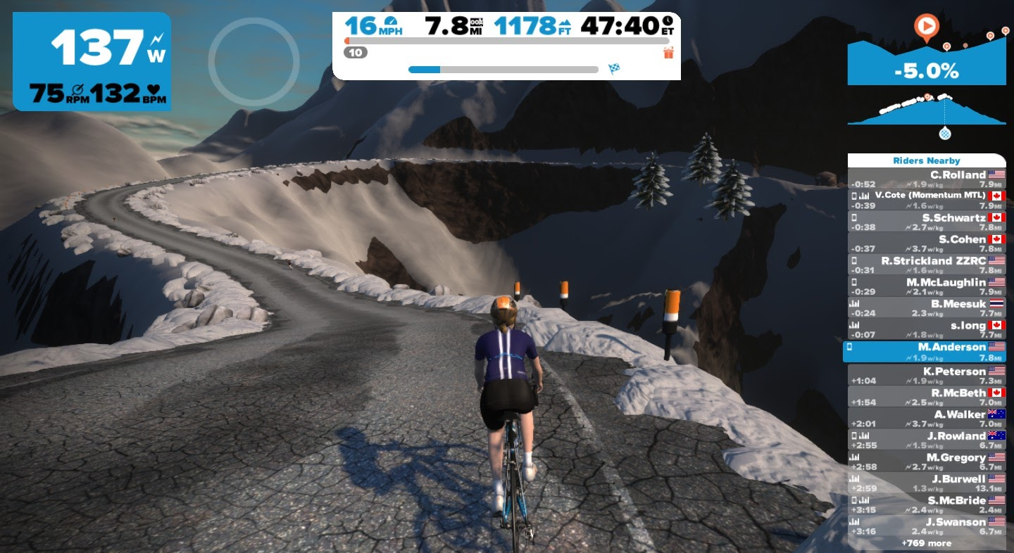 I can't even escape the snow in Zwift.