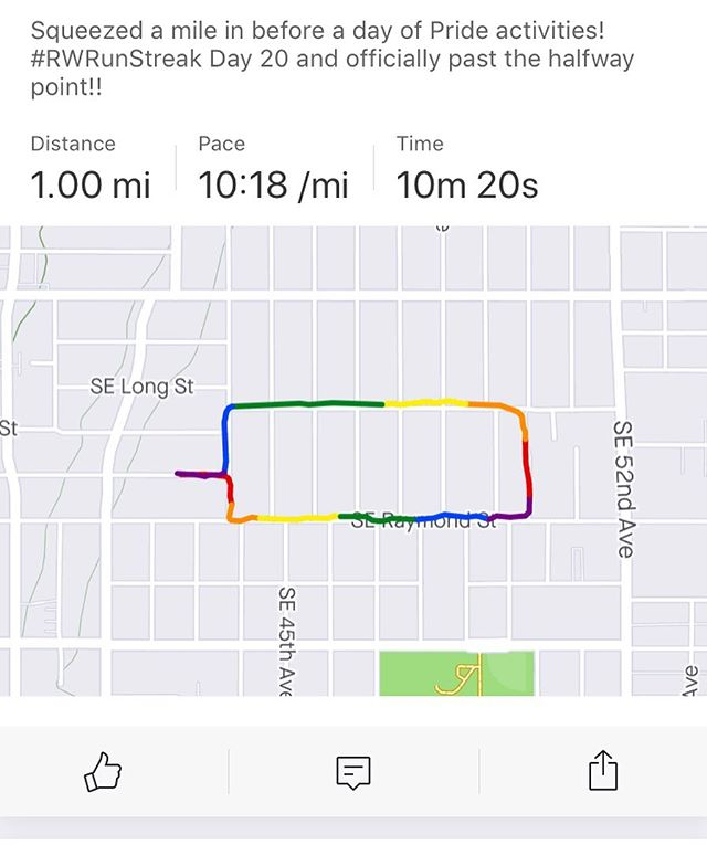 Oh Strava, you're adorable. Day 20 and happy #pride everyone!  #rwrunstreak #rwrunstreak2019 #runnersofinstagram #instarunners #runstagram #trailrunning #runnersworld #brooksrunning #runlikeamother #veganrunner #runstreak #whateverittakes