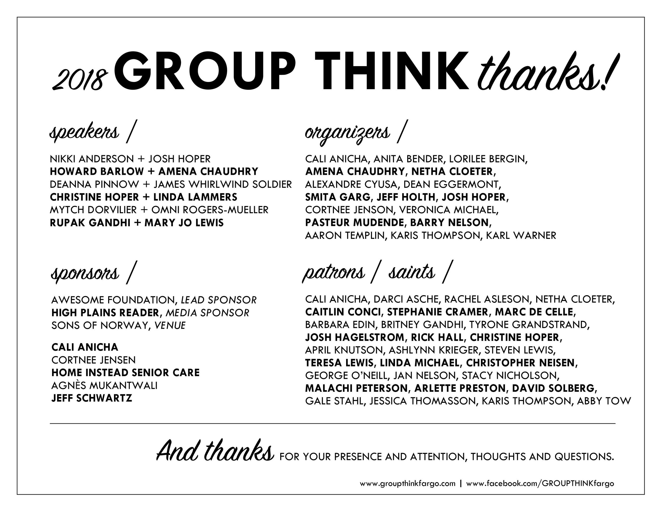 2018 GROUP THINK thanks