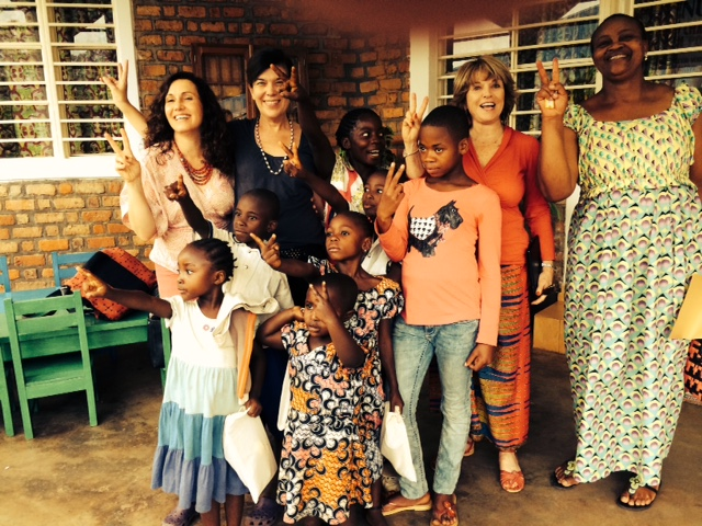 This photo was taken during a visit to the  City of Joy  in the Congo, a transformational community for women survivors of violence. I'm standing with Susan Swan, executive director of V-Day, and Mama Bachu, City of Joy's program manager,as well as some of the children whose mothers are residents at City of Joy  .