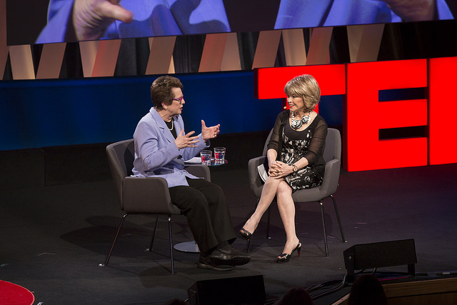 Interviewing Billie Jean King on stage at  TEDWomen