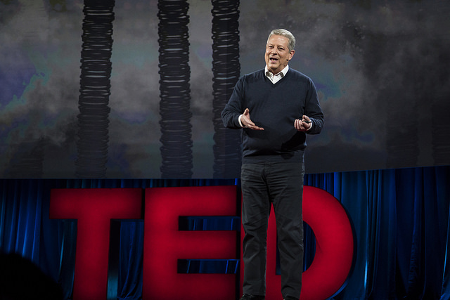 Al Gore on stage at TED last week (photo courtesy of TED)