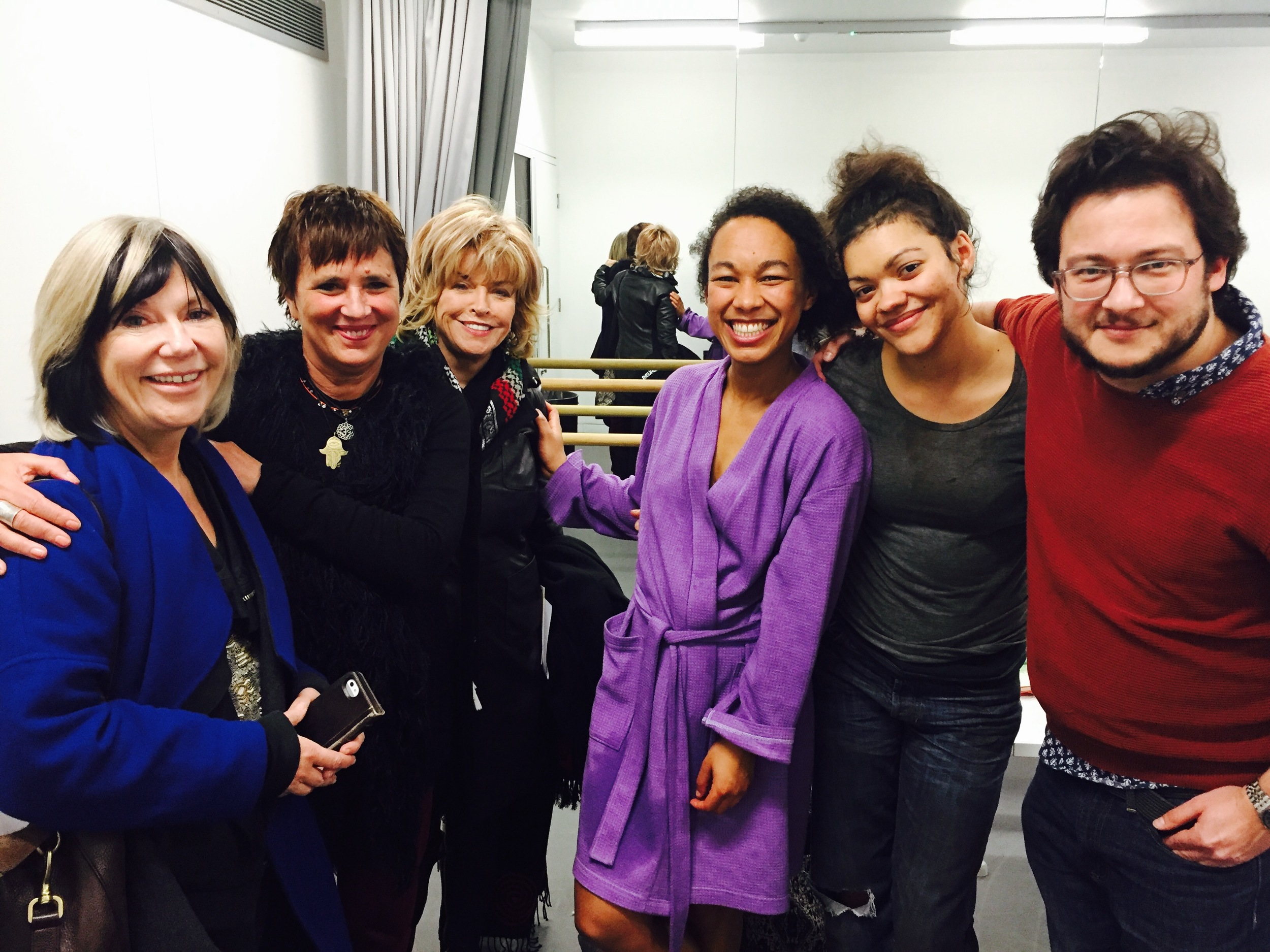 Backstage on opening night of Eve Ensler's new play, The Fruit Trilogy. Pictured left to right: WOW founder Jude Kelly, Ensler, me, actresses Amelia Donkor and Carla Harrison-Hodge, and director Mark Rosenblatt