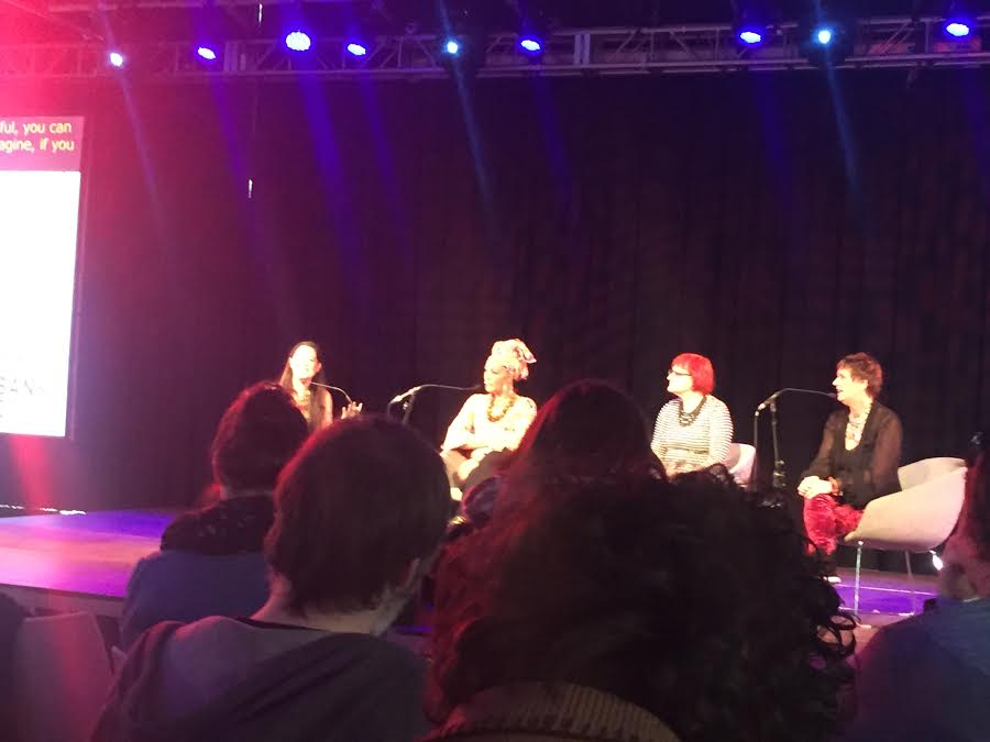 Eve Ensler (right) moderates the  Bodies of Revolution  panel at #WOWLDN. Panelists (left to right) were  Monique Wilson ,  Christine Schuler Deschryver  and  Rada Boric