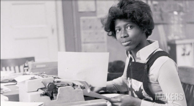 Ifill working at the Boston Herald early in her career.  Watch the Makers interview  with Gwen Ifill.
