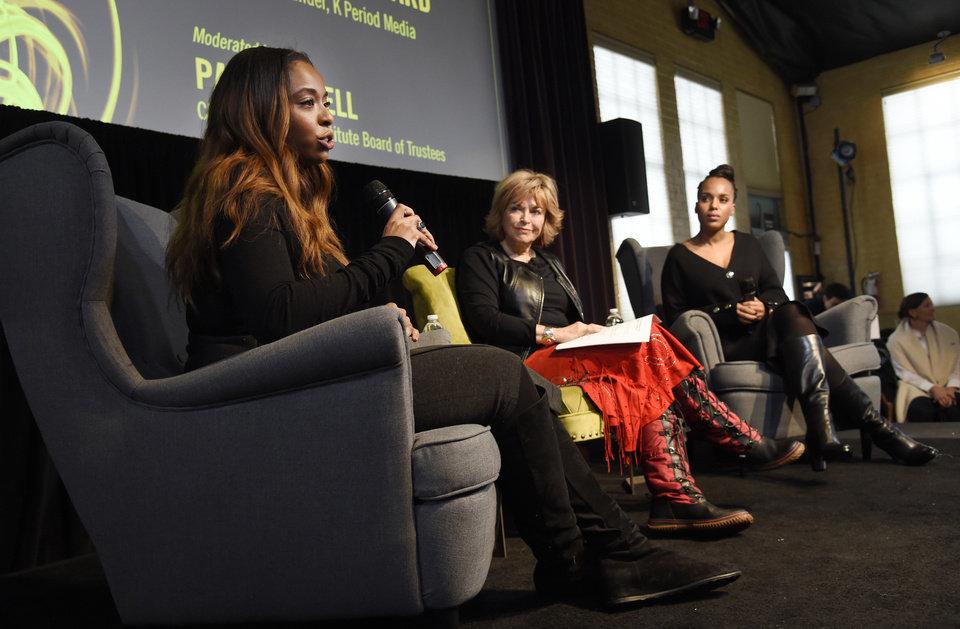 (L-R) Kimberly Steward, Pat Mitchell and Kerry Washington at the 2017 Sundance Women's Brunch.