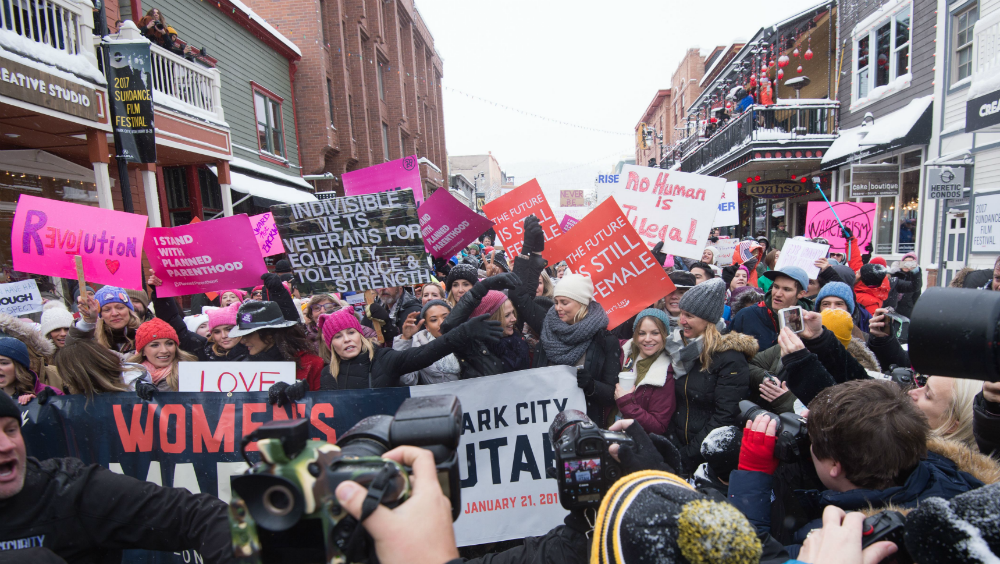 The Women's March at the 2017 Sundance Film Festival in Park City, Utah on Saturday, January 21, 2017.
