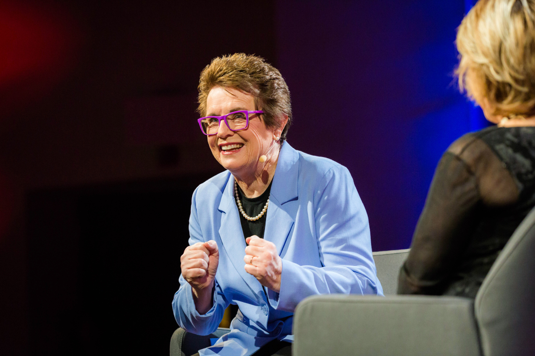 "Billie Jean King: ""Bobby Riggs — he was the former number one player, he wasn't just some hacker. He was one of my heroes and I admired him. And that's the reason I beat him, actually, because I respected him."" She spoke with Pat Mitchell at TEDWomen2015. Photo: Marla Aufmuth/TED"