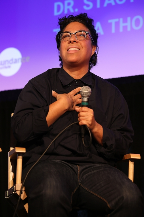 Angela Robinson speaks onstage at the 2018 Women at Sundance Brunch on January 22, 2018 in Park City, Utah. (Photo by Phillip Faraone/Getty Images for Refinery29)