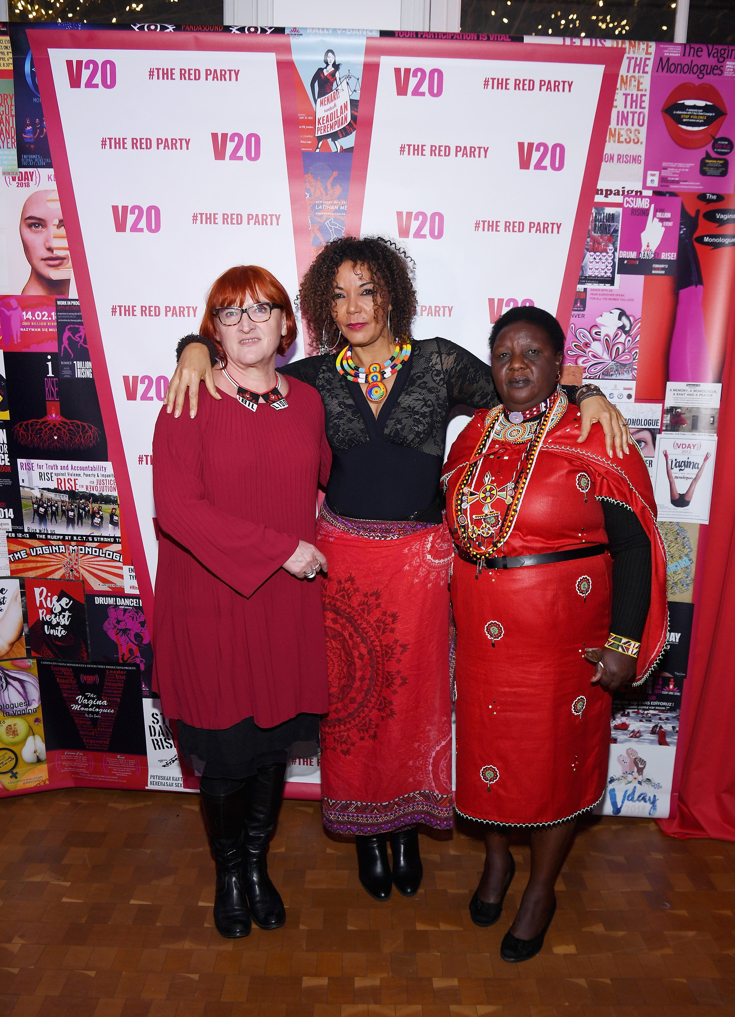 Activists Rada Boric (Croatia), Christine Schuler Deschryver (DRC) and Agnes Pareyio (Kenya) at the V-Day 20 Celebration, February 2018 in New York.