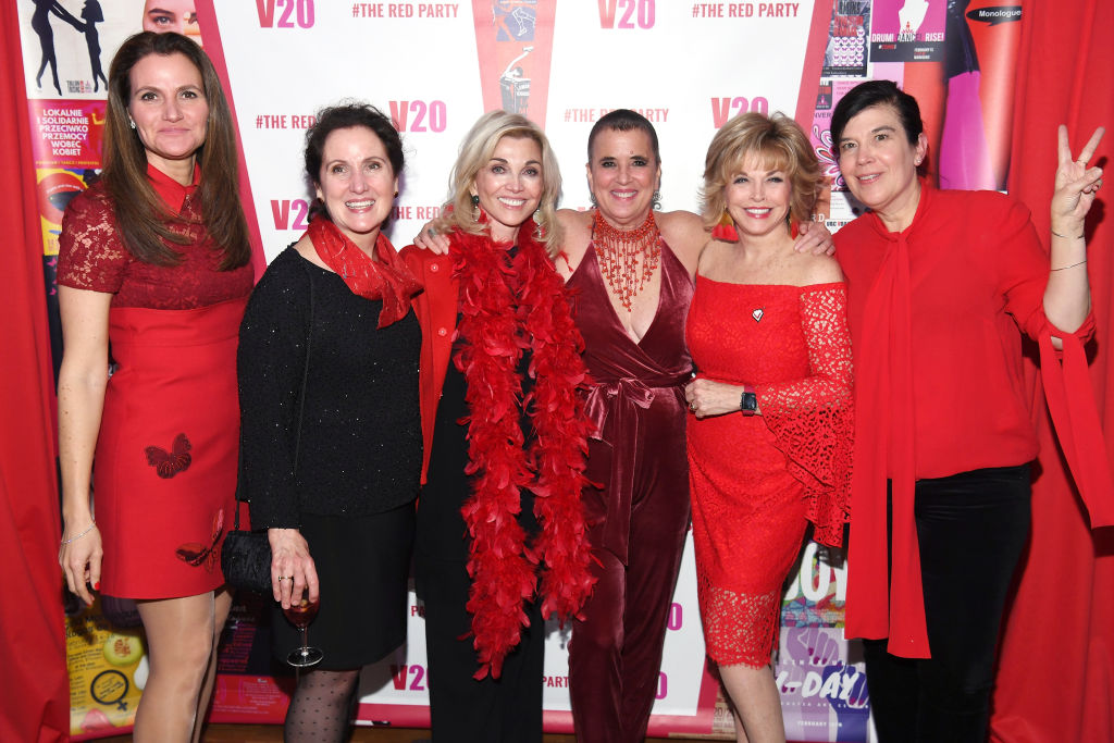 "(L-R) Lisa Schejola Akin , Katherine McFate, Carole Black, Eve Ensler, Pat Mitchell and Susan Celia Swan attend V20: The Red Party, a 20th anniversary celebration of V-Day and ""The Vagina Monologues,"" featuring a performance by Eve Ensler of ""In The Body Of The World"" and after party at Carnegie Hall on February 14, 2018 in New York City. (Photo by Dave Kotinsky/Getty Images for V-Day)"