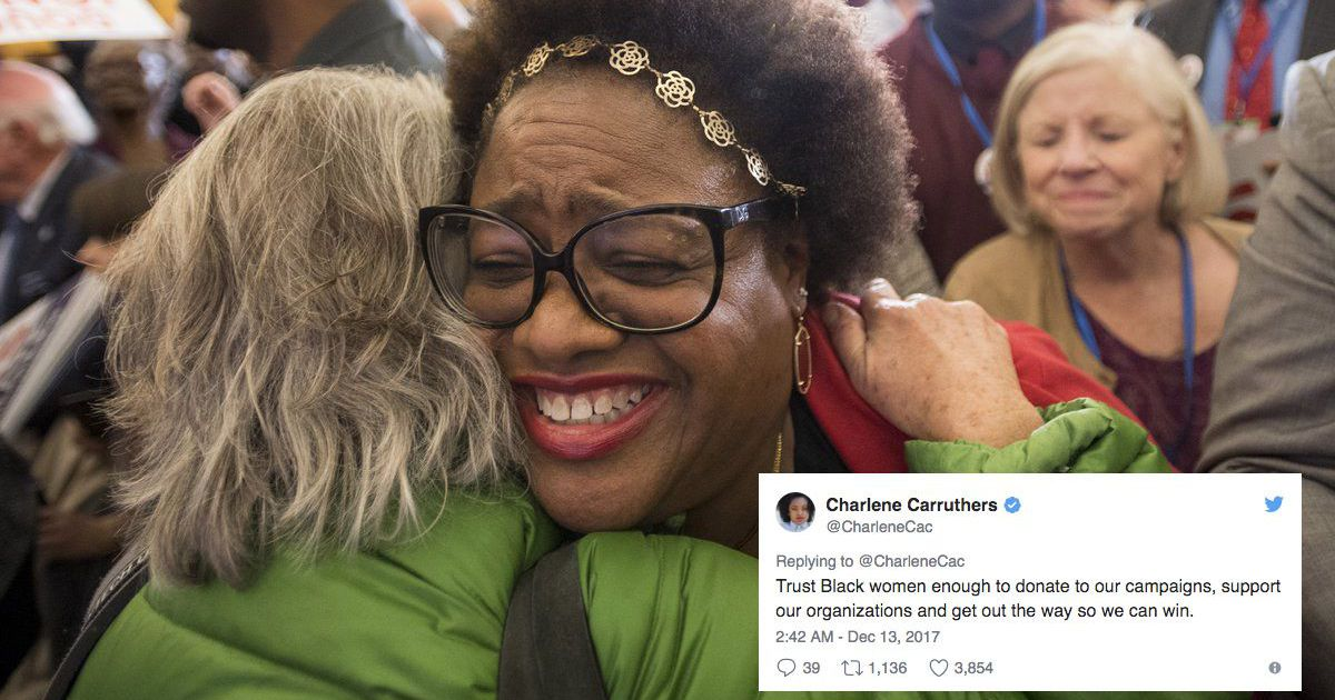 A woman in Alabama celebrates Doug Jones victory in December. Many on Twitter recognized Alabama Black women voters'pivotal contribution to Moore's defeat calling it historic, using memes and videos to thank Black women. (via  Mashable )