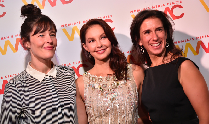 Ashley Judd (center), chair of WMC Speech Project, with  New York Times  journalists Megan Twohey (left) and Jodi Kantor (right), at the 2017 Women's Media Awards, where Judd received the WMC Speaking Truth to Power Award from Gloria Steinem.