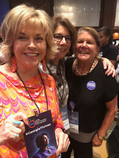 Three committed friends sharing excitement for the Georgia ticket headed by Stacey Abrams and Sarah Riggs Amico — two women who will make history and positive change for all Georgians.  #gapol   #GAGov   #Vote