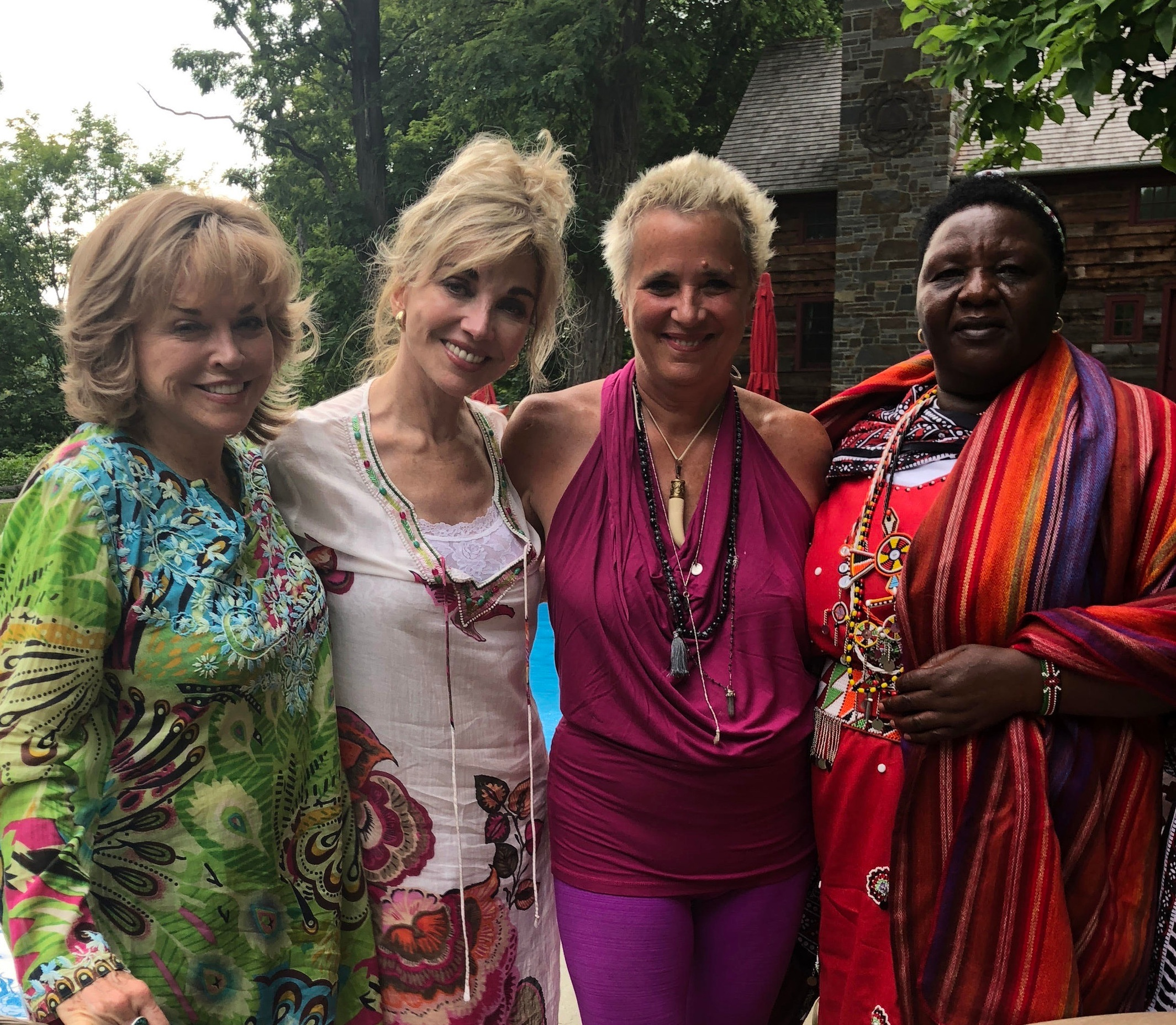 V-Day board members Pat Mitchell and Carole Black, with V-Day founder Eve Ensler and Agnes Pareyo, Masai activist and anti-FGM leader.