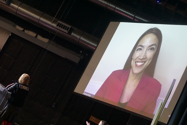 """I had the pleasure of hosting the annual Women's event and as part of that program that featured several women artists, also introducing  Rep. Alexandria Ocasio-Cortez,  who is featured in """"Knock Down the House,"""" a documentary that followed her and 3 other women who ran for Congress in 2018. It won the U.S. Documentary Audience Award on Saturday night."""