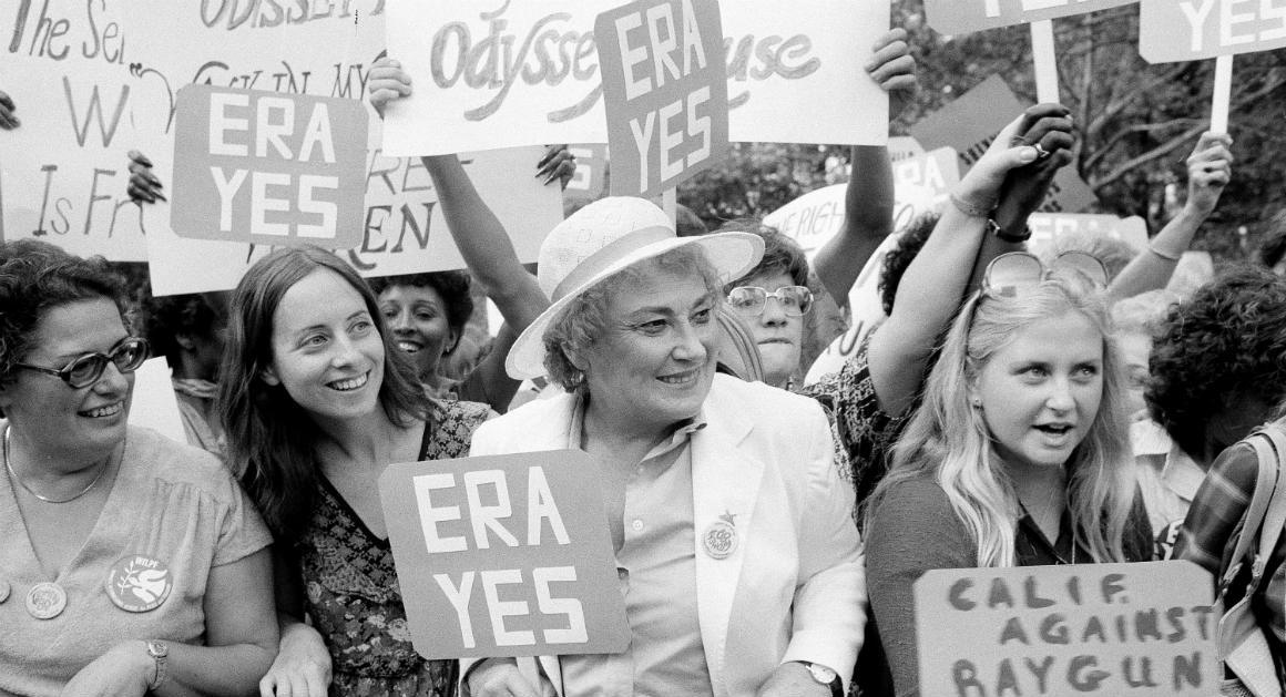 Rep. Bella Abzug (D-NY) and other women rally in support of the ERA