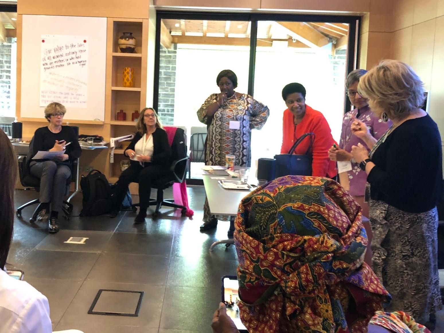 (l-r) Laura Flanders, Peggy Clark, Dr. Agnes Binagwaho, Phumzile Mlambo-Ngcuka and Pat Mitchell