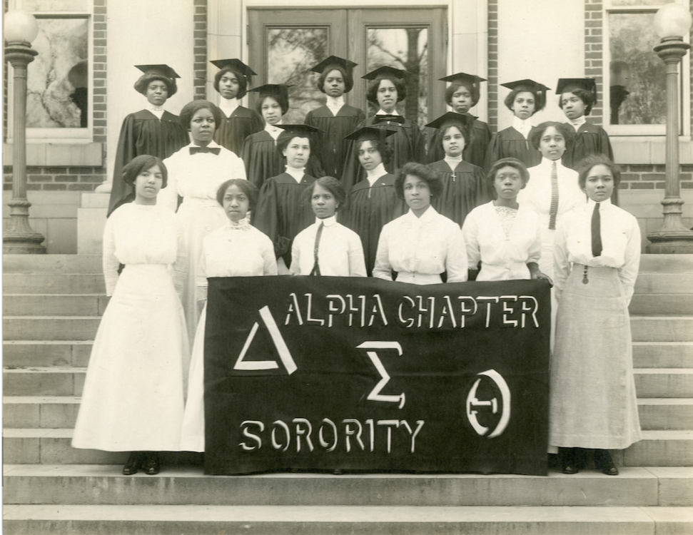 Images: Howard University Delta Sigma Theta founders, 1913. Courtesy of the Delta Sigma Theta Sorority, Inc. and Howard University. Below: Each year, the women of Delta Sigma Theta, Inc. visit Capitol Hill to use their collective voices to stand up for their communities. (2018, Instagram ); 2019 Founders Day (l-r) Reps. Lucy McBath, Joyce Beatty, Yvette Clark, Marcia Fudge, Brenda Lawrence and Val Demings (Not pictured: Rep. Stacey Plaskett) (Credit: Instagram )