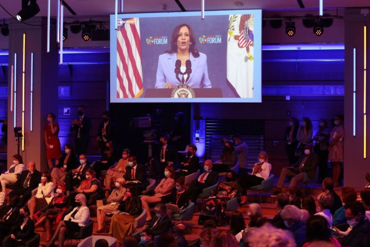 US Vice President Kamala Harris speaks virtually at the Generation Equality Forum, held in Paris, France on 30 June 2021. |  UN Women/Fabrice Gentile / Flickr