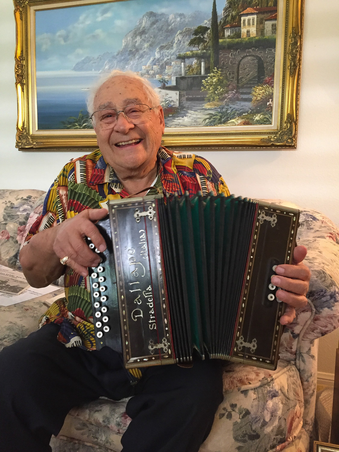 Norm Panto plays his father's button accordion.