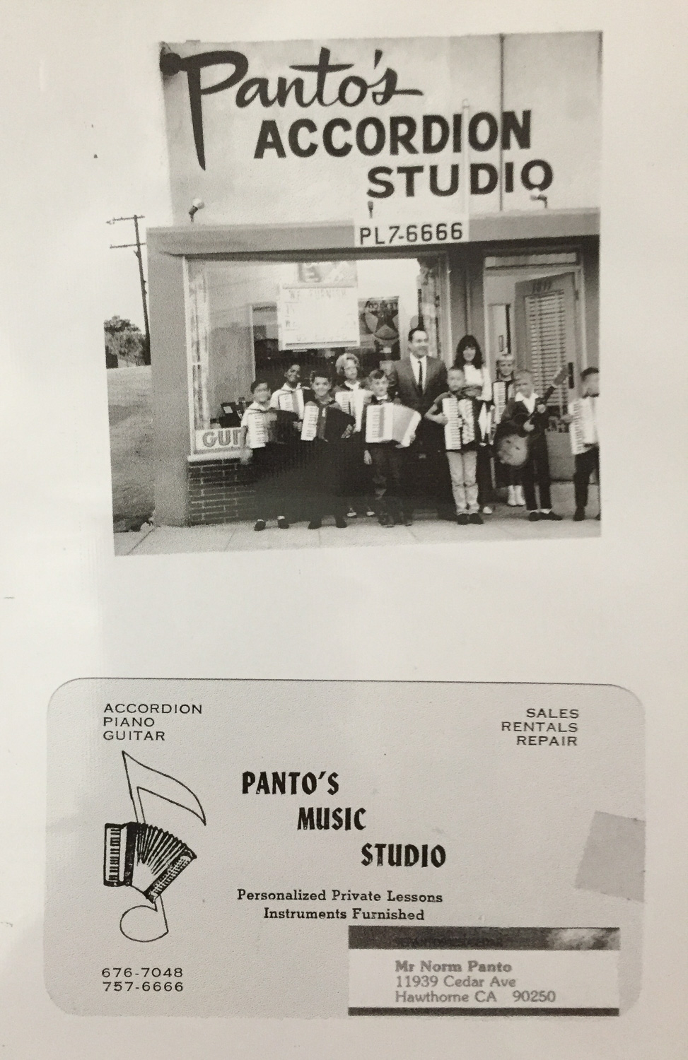 Mementos of Norman Panto's own music school, one of many chapters from his 70+year career playing music.