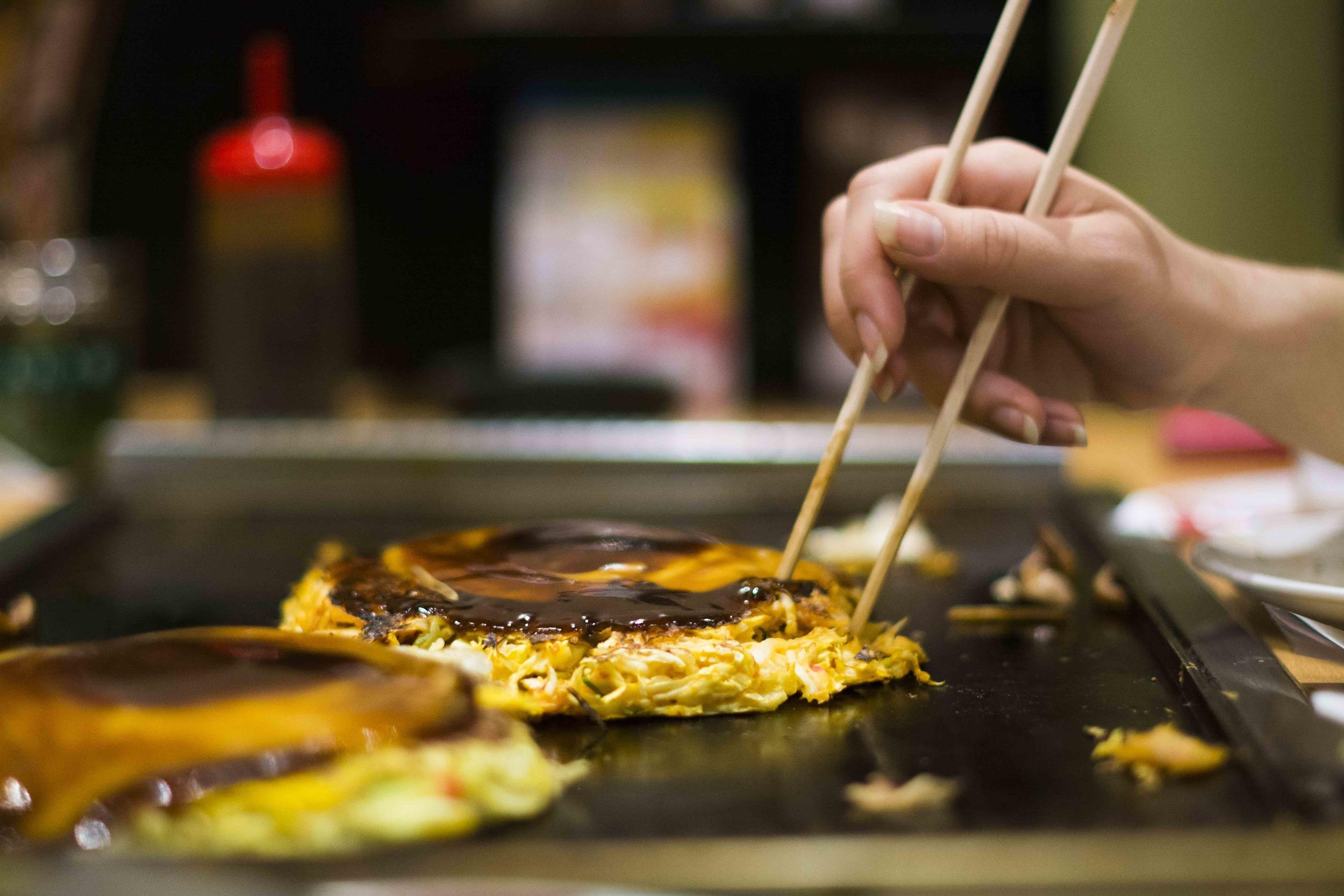 okonomiyaki, a local delicacy