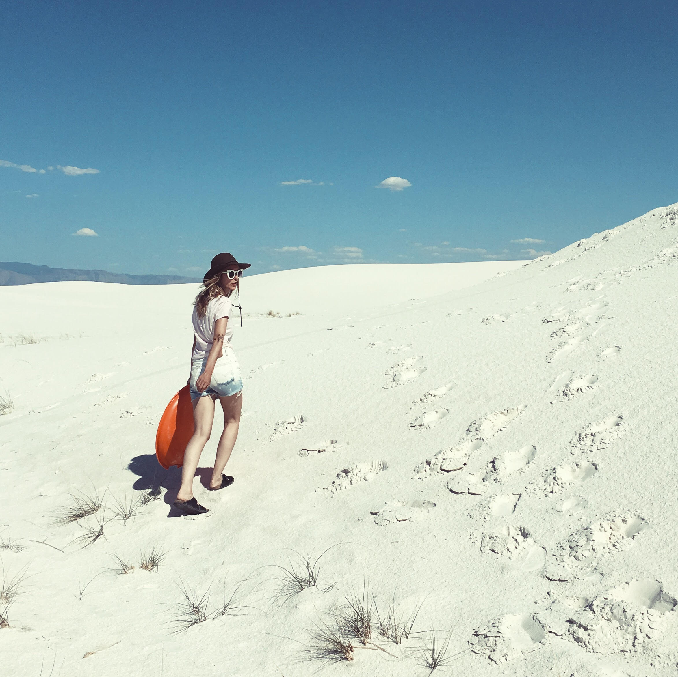 hiking through White Sands, New Mexico