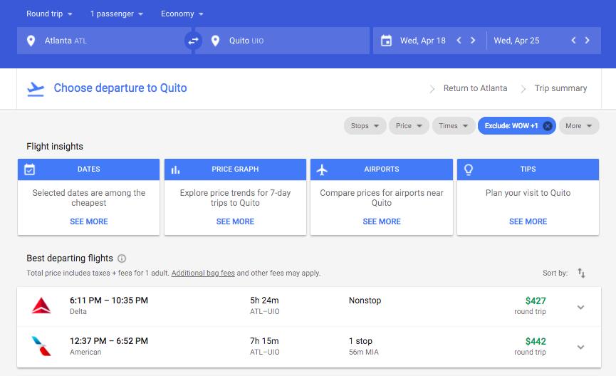 Atlanta to Quito $427 - found on nextvacay.com