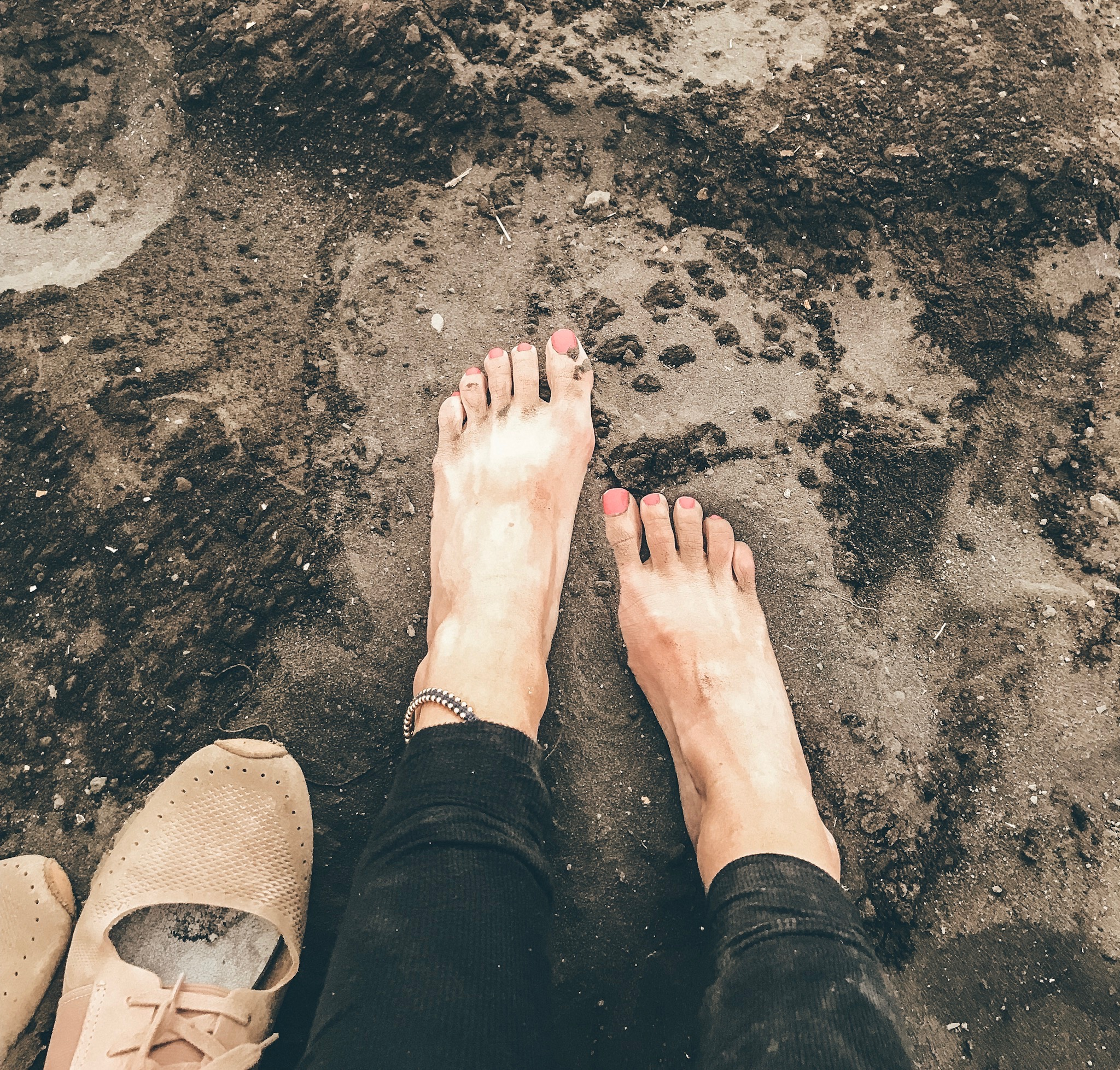Feet in the Volcano Dirt at Mount Batur, Volcano Hike