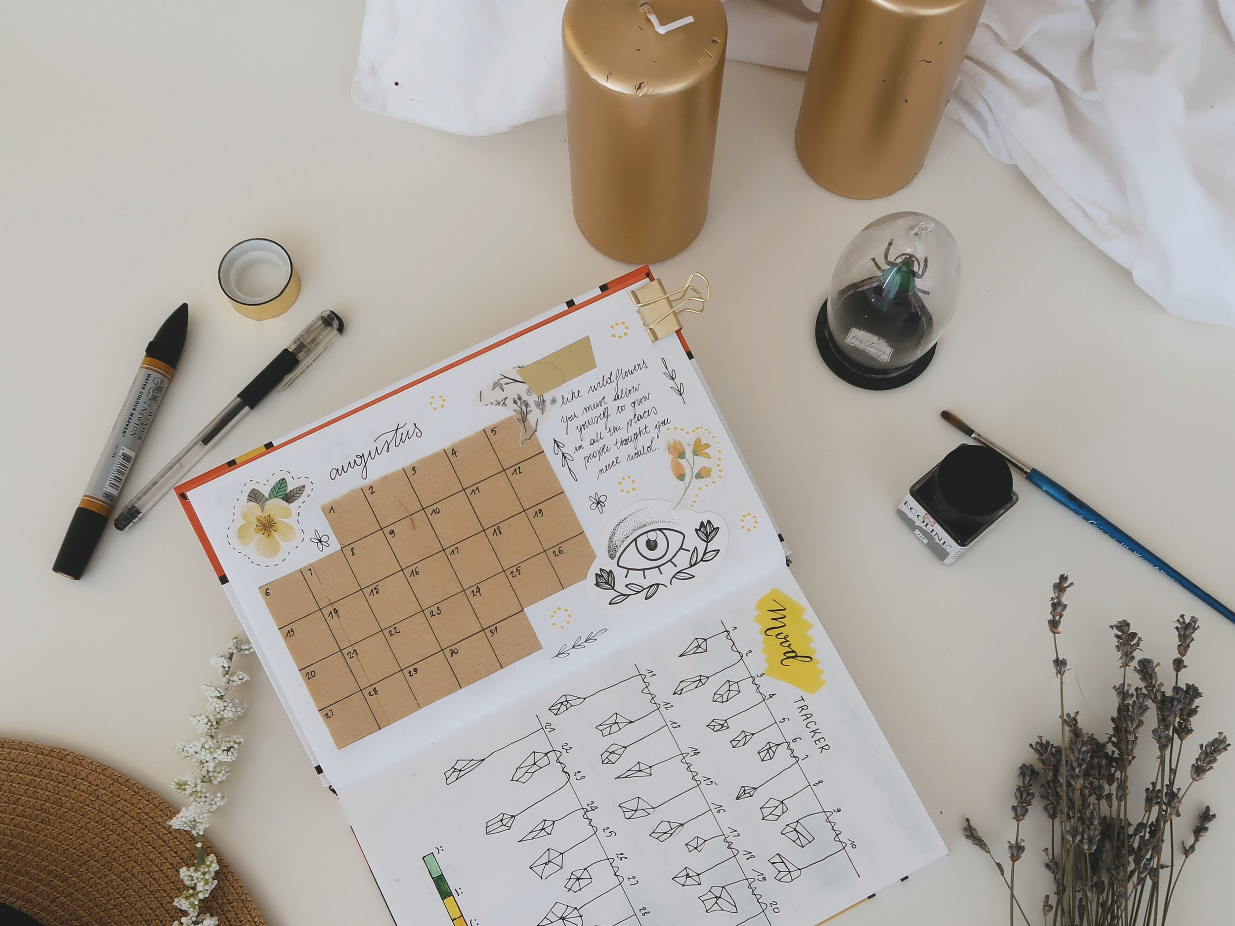 Organized desk, calendar organization, Sacred workspace