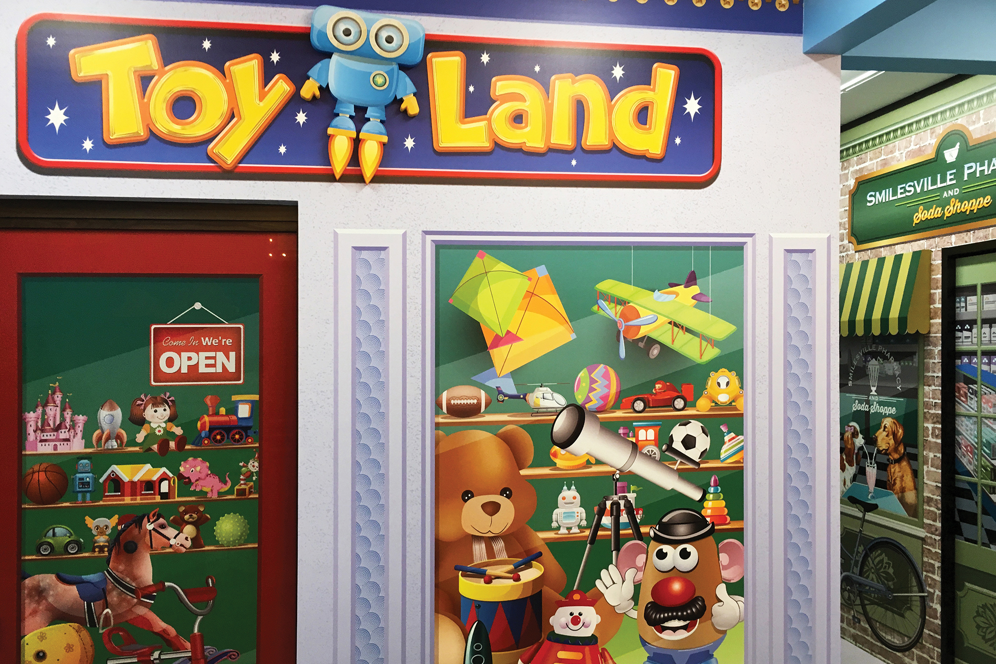 Toy Store Themed Wall Mural for Pediatric Dentistry