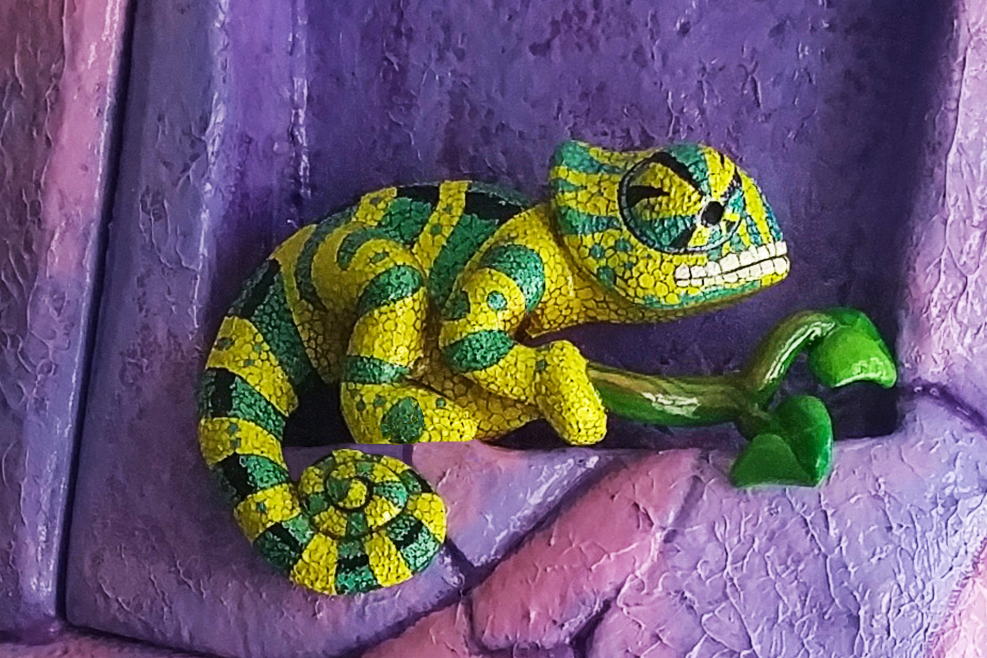 Custom Sculpted and Painted Chameleon
