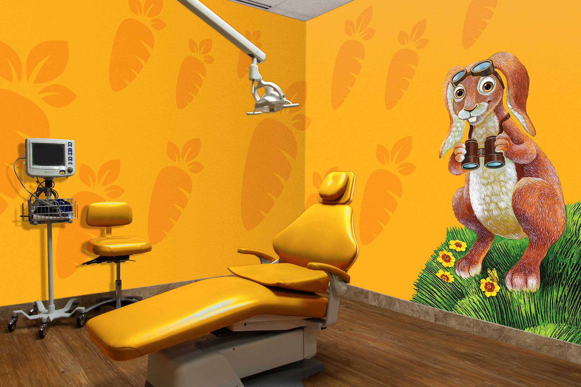 Rabbit Wall Mural Theme Pediatric Character Custom for Treatment Room