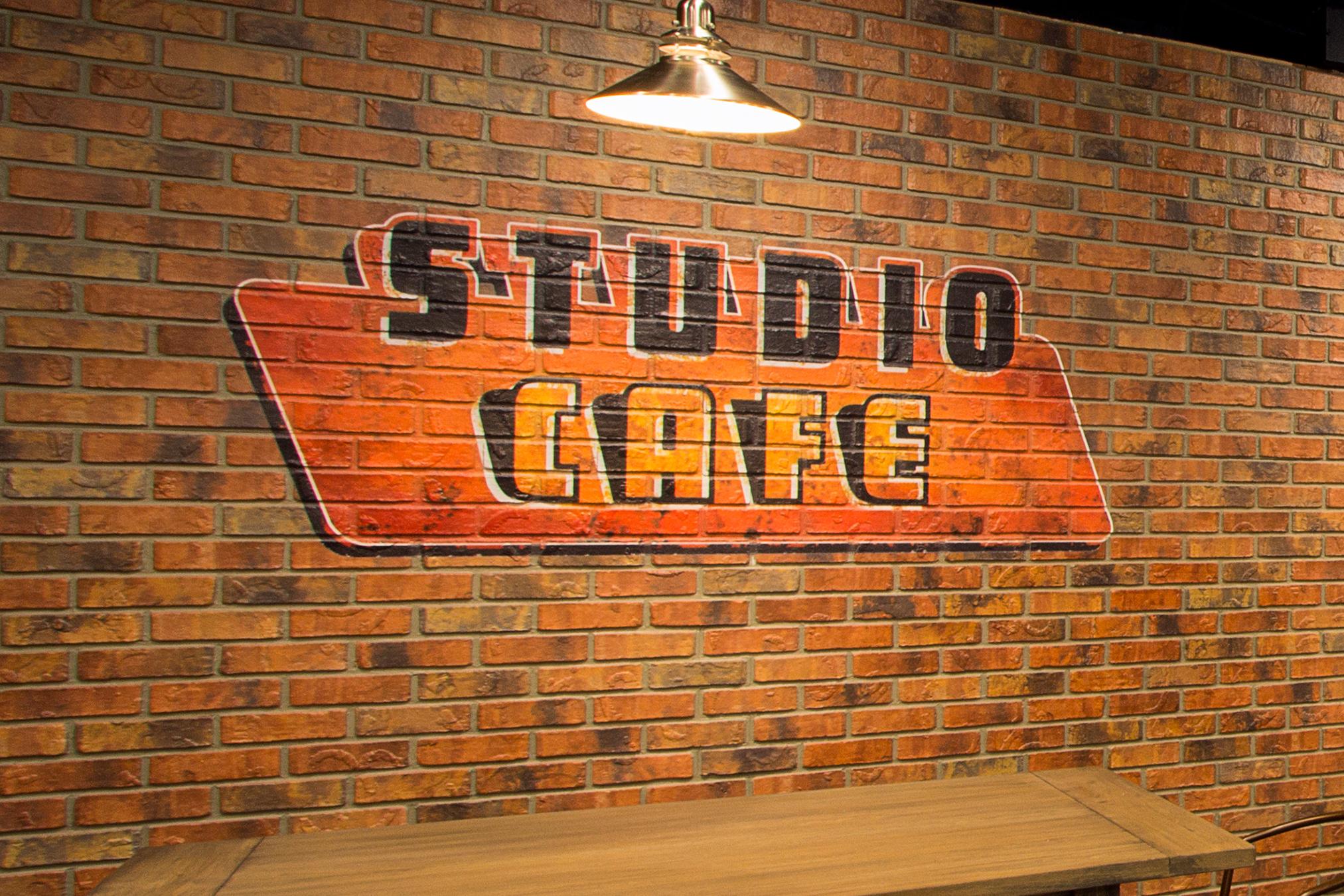 Custom Designed Studio Cafe Faux Brick Industrial Wall