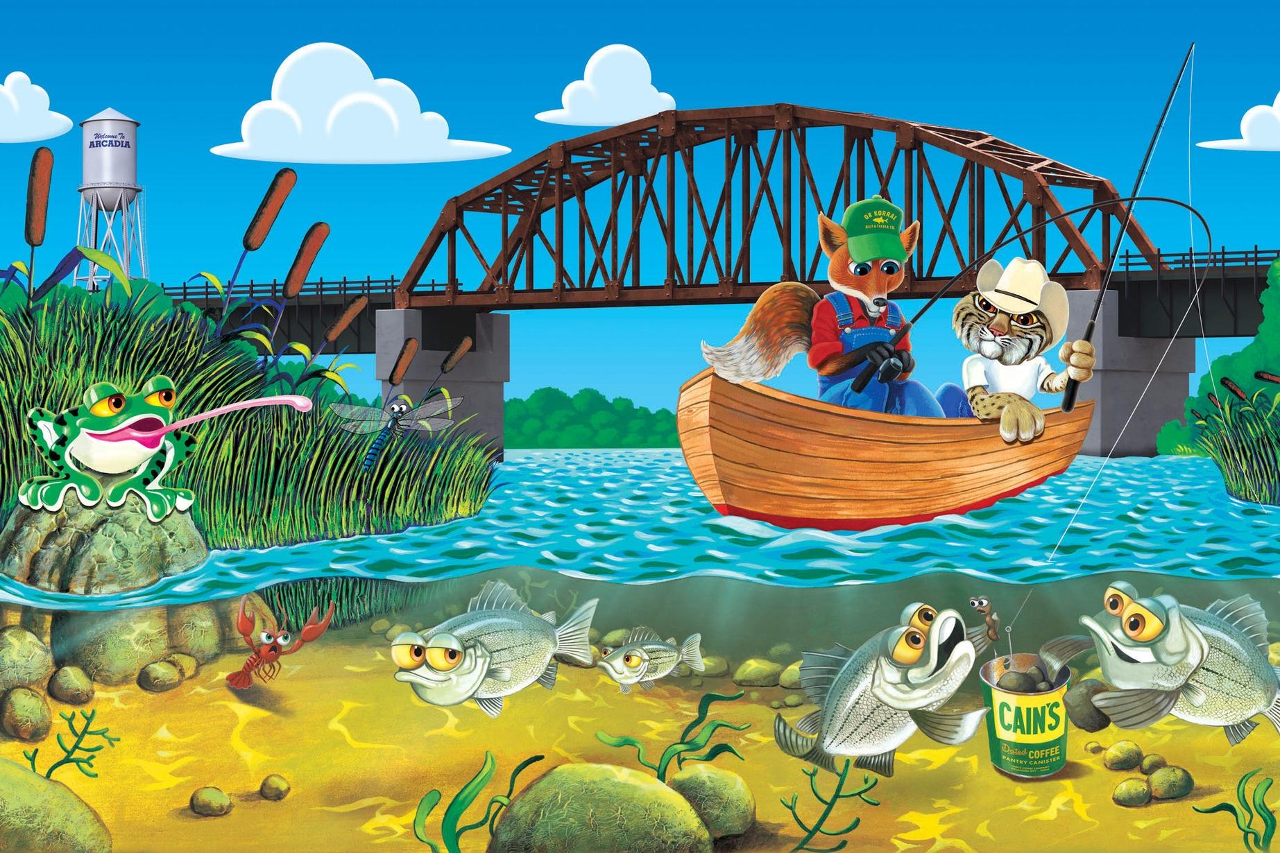 Themed Mural Scene of Local Animals Fishing