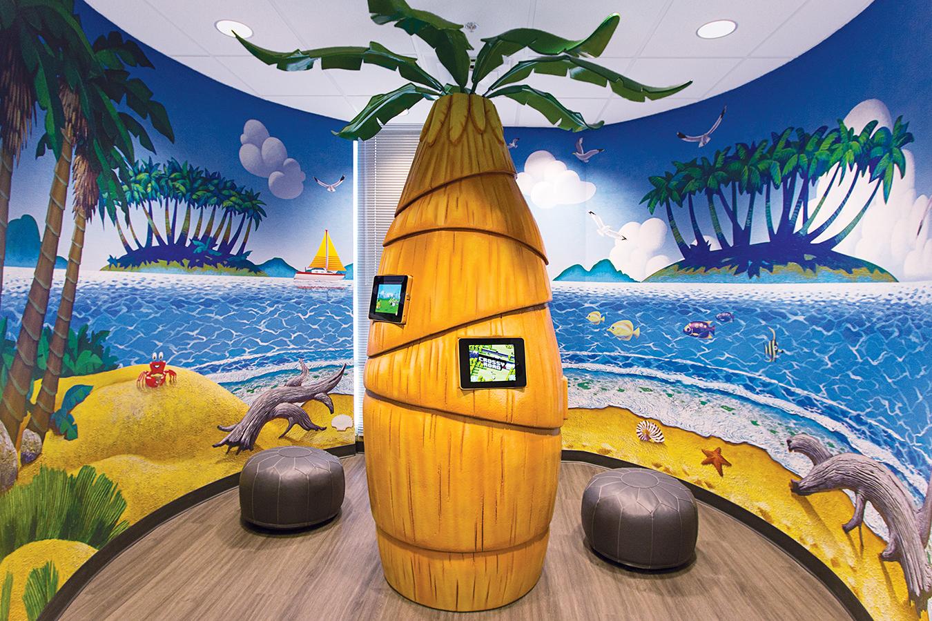 Custom Themed Palm Tree Kiosk Game Unit