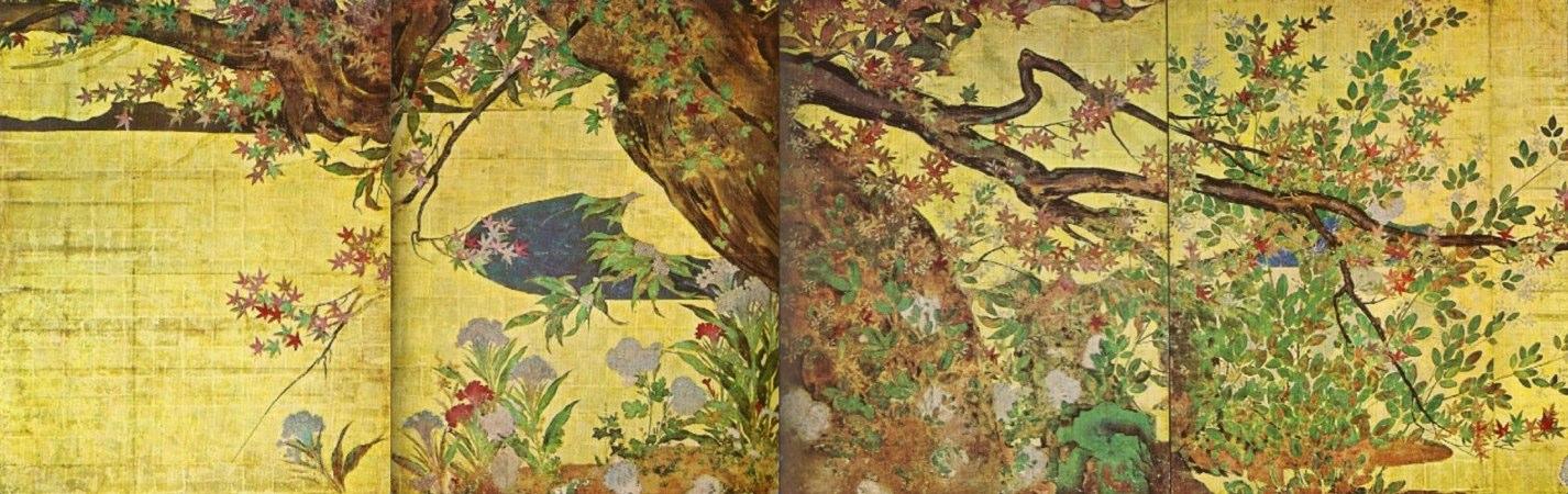 Érable entouré d'herbes d'automne par Hasegawa Tōhaku