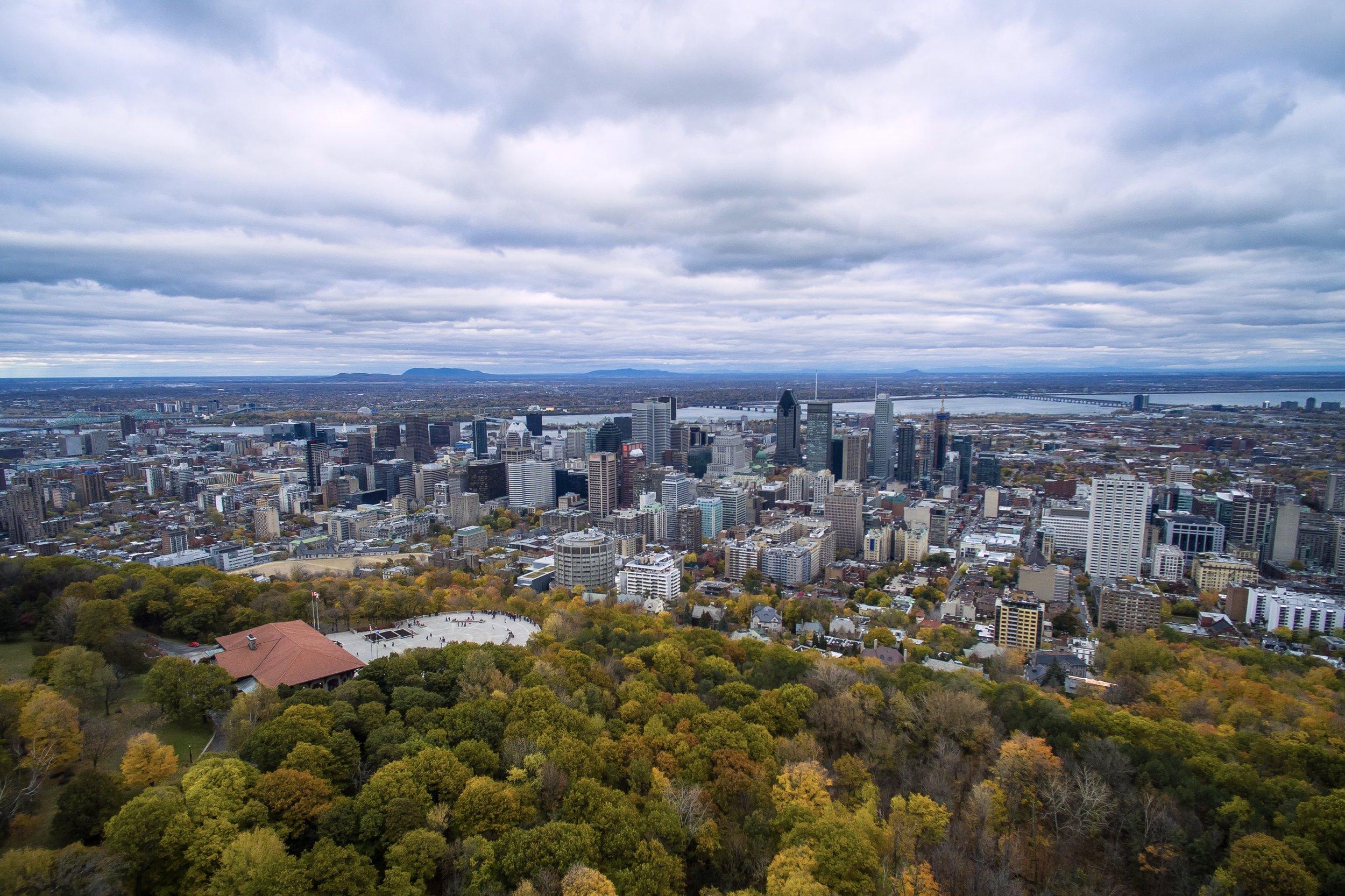 Vue à vol d'oiseau du Mont Royal, Montréal, Qc.