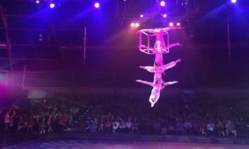 Performers in the youth circus, Circus Juventas, performing an act of balance.