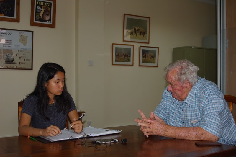 My girl interviewing Dr. Richard Leakey in Nairobi.
