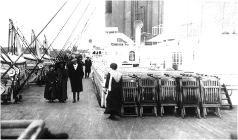 The actual deck chairs on the actual Titanic