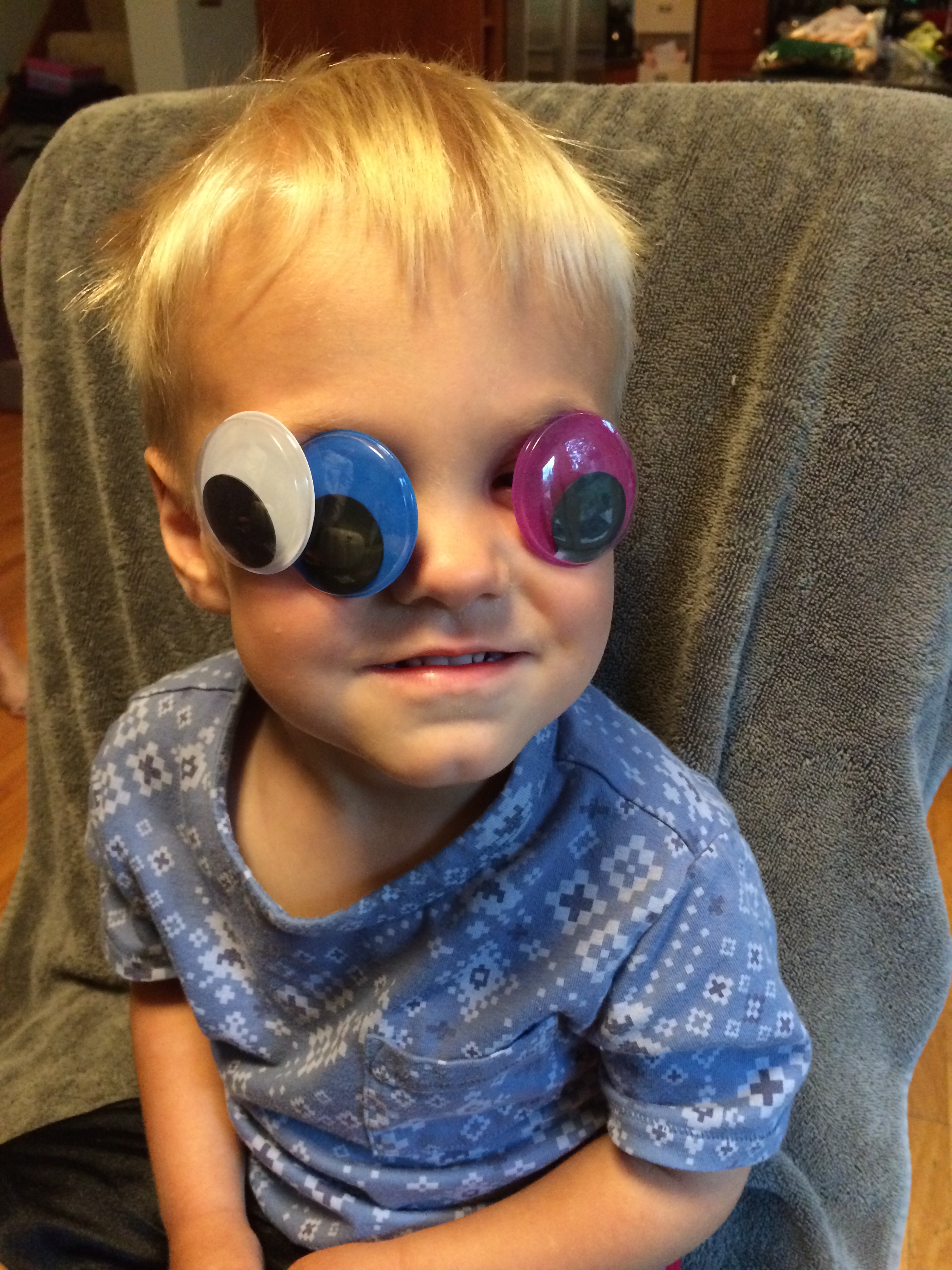 """This is what my son thought of the pumpkin craft I tried to force him to make this year. """"Look mommy I'm an eyeball!"""""""